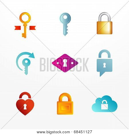 Vector logo icons set based on key and secure lock symbols.