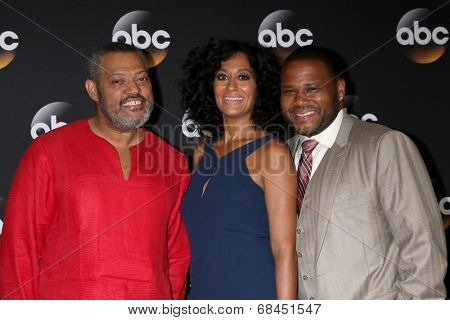 LOS ANGELES - JUL 15:  Laurence Fishburne, Tracee Ellis Ross, Anthony Anderson at the ABC July 2014 TCA at Beverly Hilton on July 15, 2014 in Beverly Hills, CA
