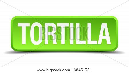 Tortilla Green 3D Realistic Square Isolated Button