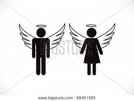 Pictogram Angel and Devil   Icon Symbol Sign