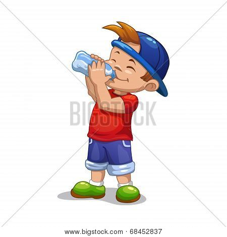 Little boy drinks water