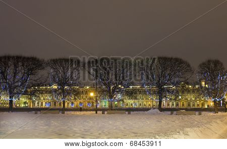 St. Petersburg, Winter Palace (hermitage) And Trees With Electric Garlands