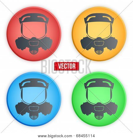 Set of colorful head gas mask signs