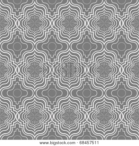 Seamless grey and white Arabic vector pattern.