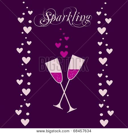 vector wine bottle with wineglass and sparkles