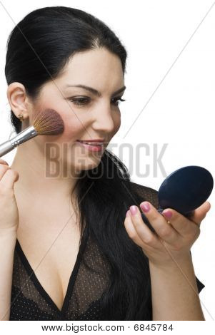 Beauty Woman Blushing In Mirror