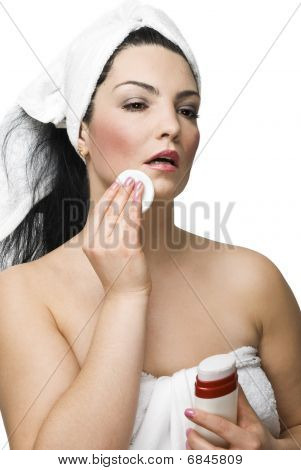 Attractive Woman Removing Make-up