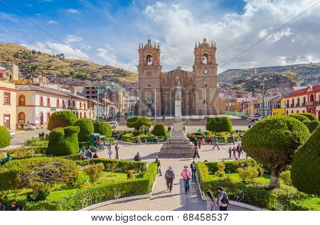 PUNO, PERU, MAY 5, 2014 - Plaza de Armas with the seventeenth-century Cathedral.