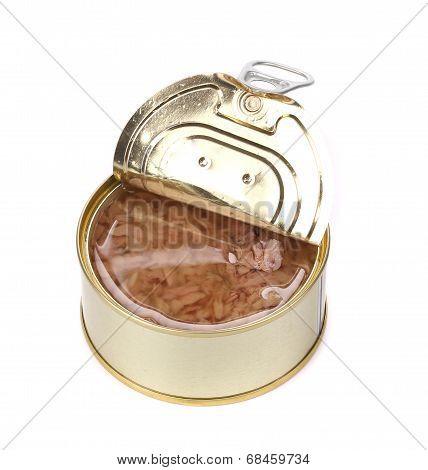 Canned tuna in a tin.