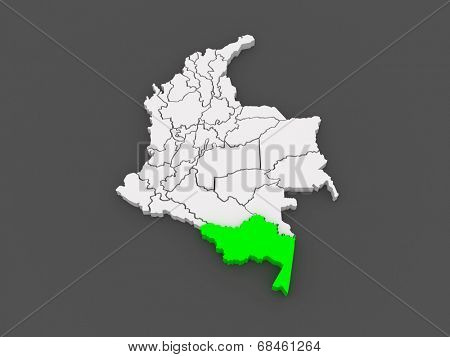 Map of Amazonas. Colombia. 3d