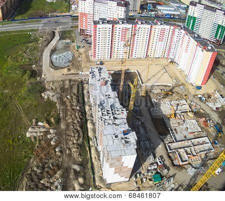 Bird's eye view on construction site in Tyumen