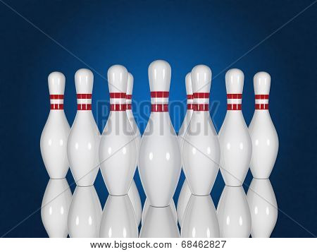 Bowling Pins On A Blue Background