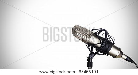 Dynamic microphone on a white background