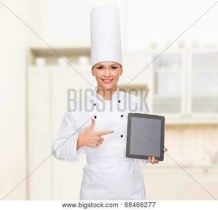 cooking, technology and food concept - smiling female chef with tablet pc computer blank screen
