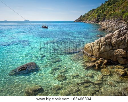 Boat At Snorkeling Site In Perhentian Island, Malaysia