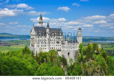 Neuschwanstein Castle At The Summer, Bavaria, Germany
