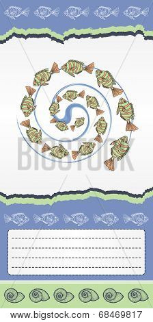 Abstract template for card with fishes.