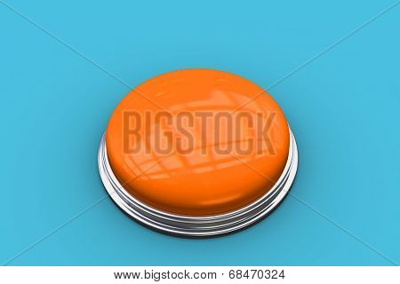 The word start and shiny orange push button against blue vignette