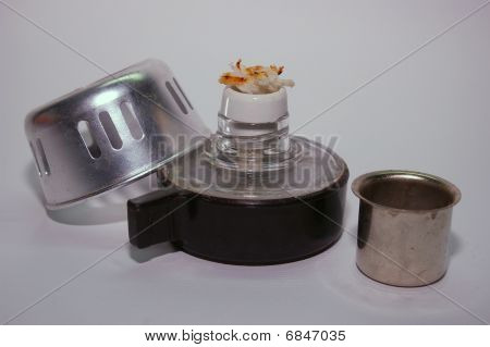 An alcohol burner for brewing coffee