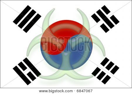 Flag Of South Korea Health Warning
