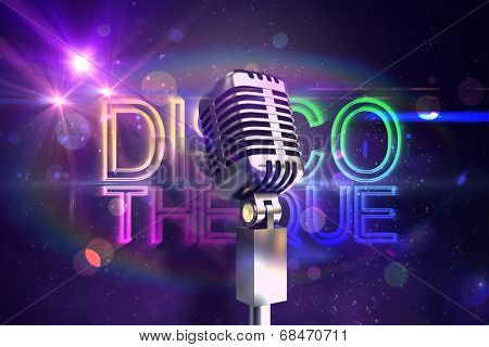 Retro chrome microphone against digitally generated colourful discotheque text