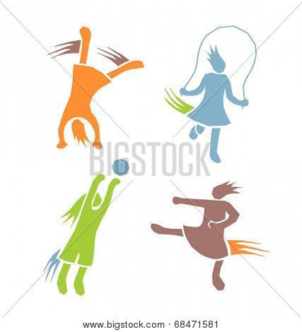 active sports girls icons vector set 2