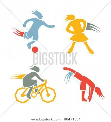 active sports girls icons vector set 3