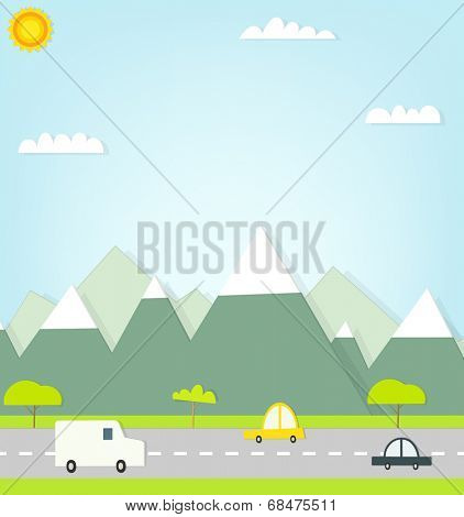 flat paper cars on road