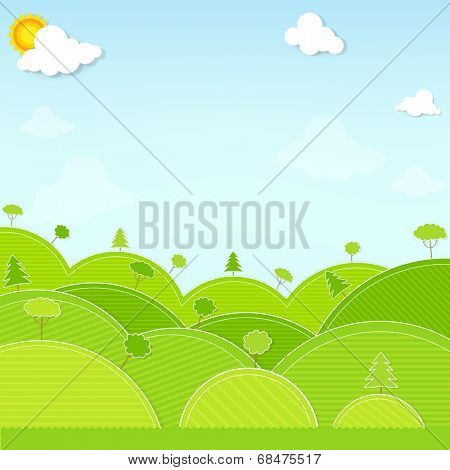 landscape hill and tree illustration vector