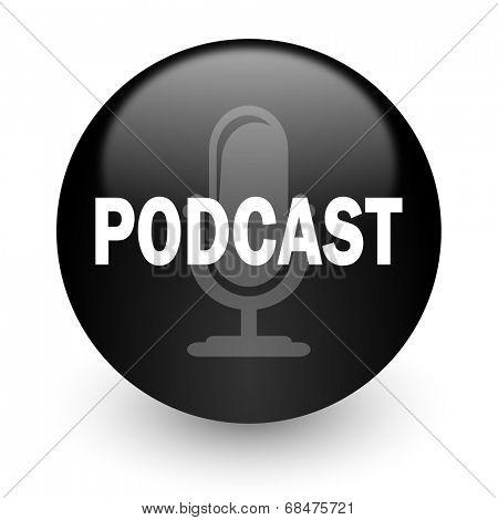 podcast black glossy internet icon