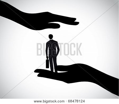 Hand Silhouette Protecting Professional Smart Young Businessman