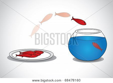 Alert red small Young Fish Escaping From Plate Of Dead Fishes To Glass Bowl.