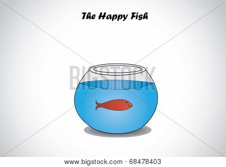 Single Red Happy Fish In  A Transparent Fishbowl Glass Aquarium Bowl Concept Design.