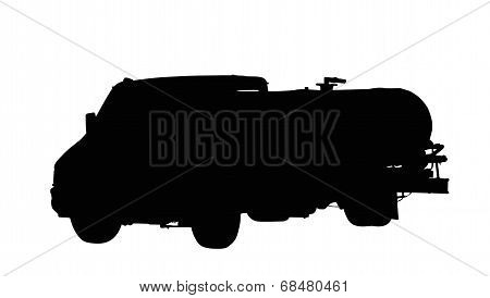 Water Or Fuel Truck Isolated Silhouette