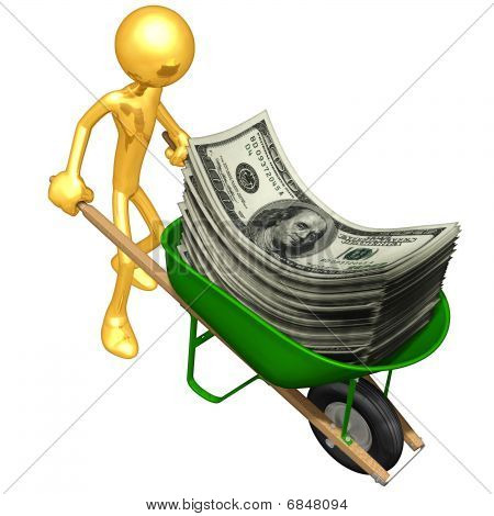Gold Guy With Wheelbarrow Full Of Money