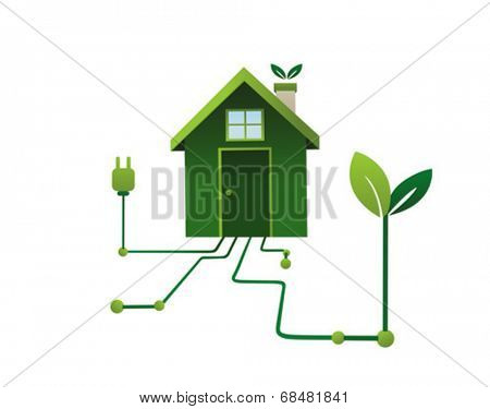 Green energy in the home vector on white background