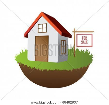 Home for sale on grass with sign vector on white background