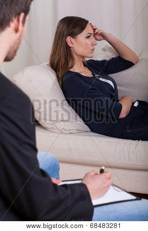 Lady On Psychotherapist Sofa