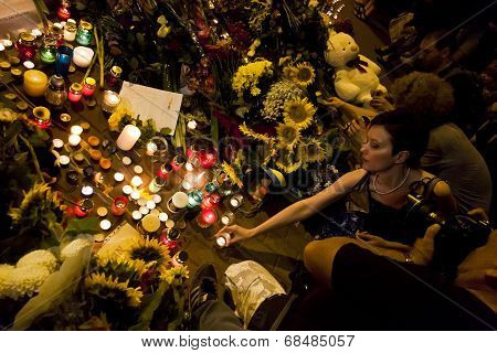 People Place Flowers At Dutch Embassy In Kyiv