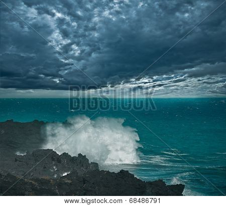 Stormy sky above the ocean.