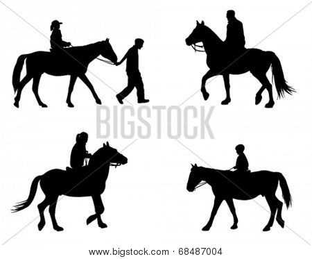 horse riding silhouettes
