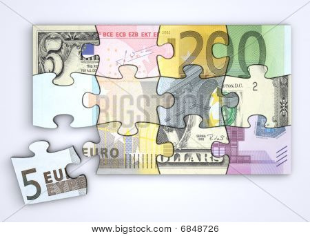 Mixed Dollar And Euro Note Puzzle With Separate Euro Piece