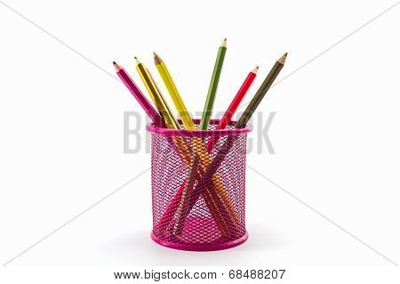 Colorful Pencils In Pink Pail.