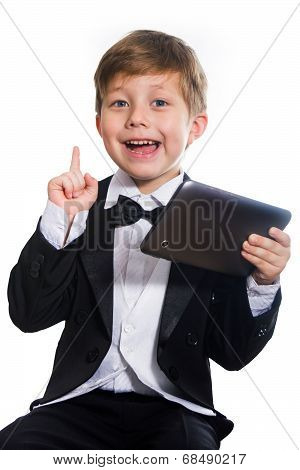 The Clever Boy And Tablet, Isolated
