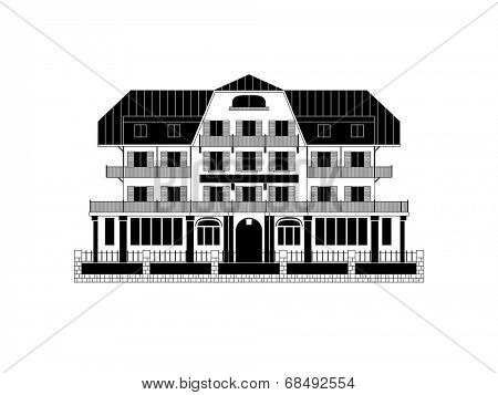 Swiss Chalet Vector Illustration. Black and white vector illustration of a Swiss chalet.