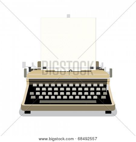 Vintage Typewriter Vector Illustration. Retro style typewriter with blank paper isolated on white background.