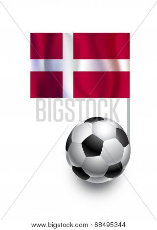 Illustration Of Soccer Balls Or Footballs With  Pennant Flag Of Denmark  Country Team