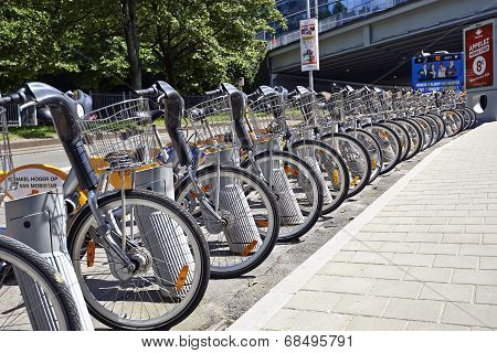 City Bike Docking Station In Brussels