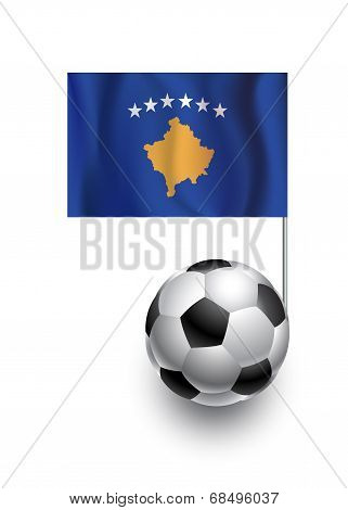 Illustration Of Soccer Balls Or Footballs With  Pennant Flag Of Kosovo  Country Team