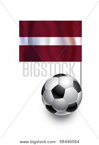 Illustration Of Soccer Balls Or Footballs With  Pennant Flag Of Latvia  Country Team
